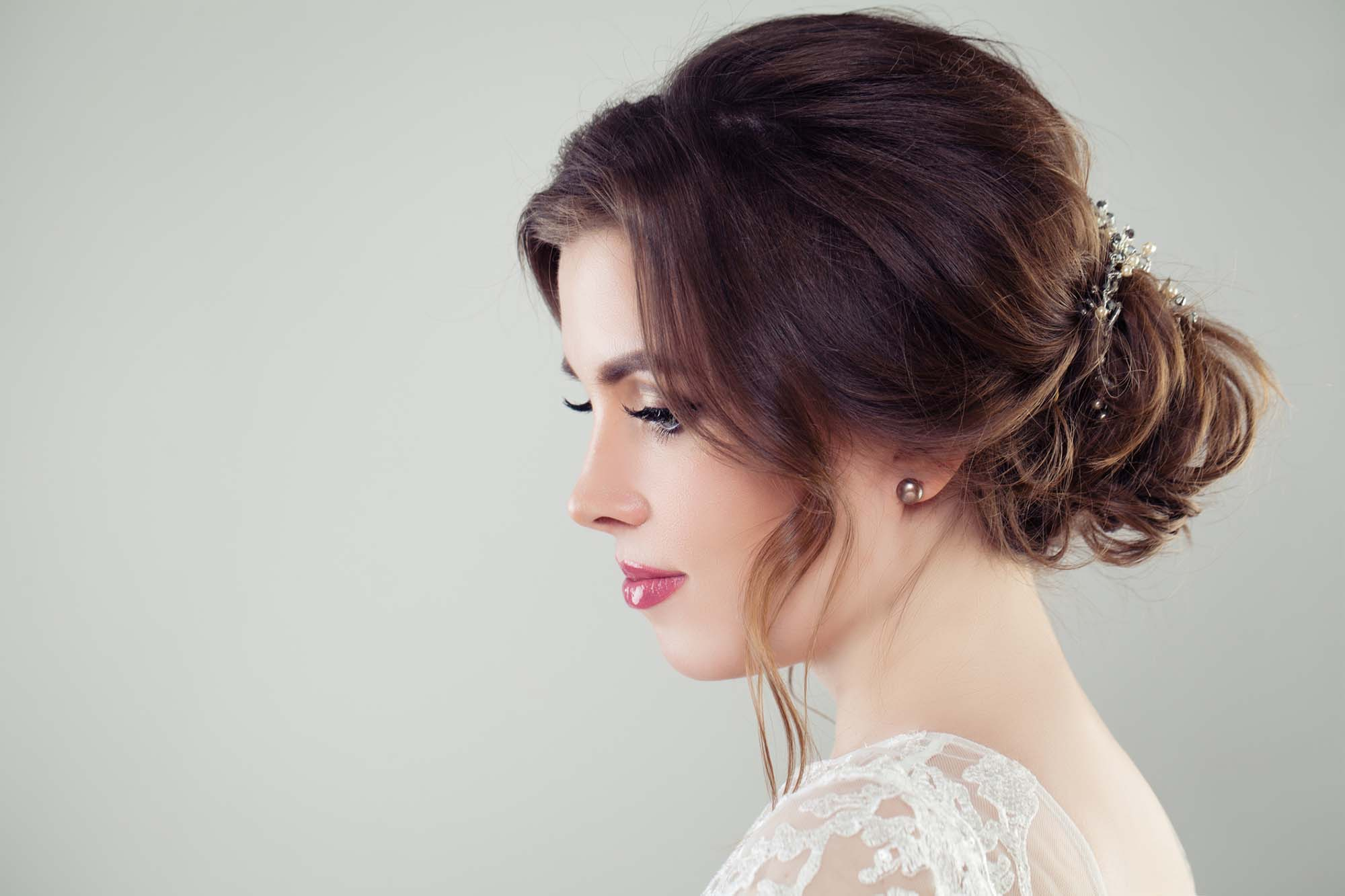 Pretty bride woman with bridal hair